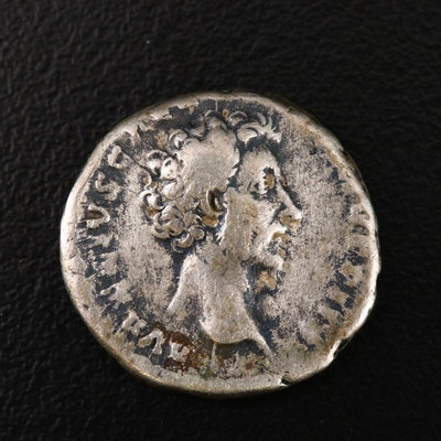 Ancient Roman Imperial AR Denarius of Marcus Aurelius, ca. 158 A.D.
