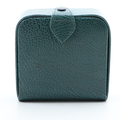 Asprey London Travel Jewelry Case in Green Leather with Presentation Box