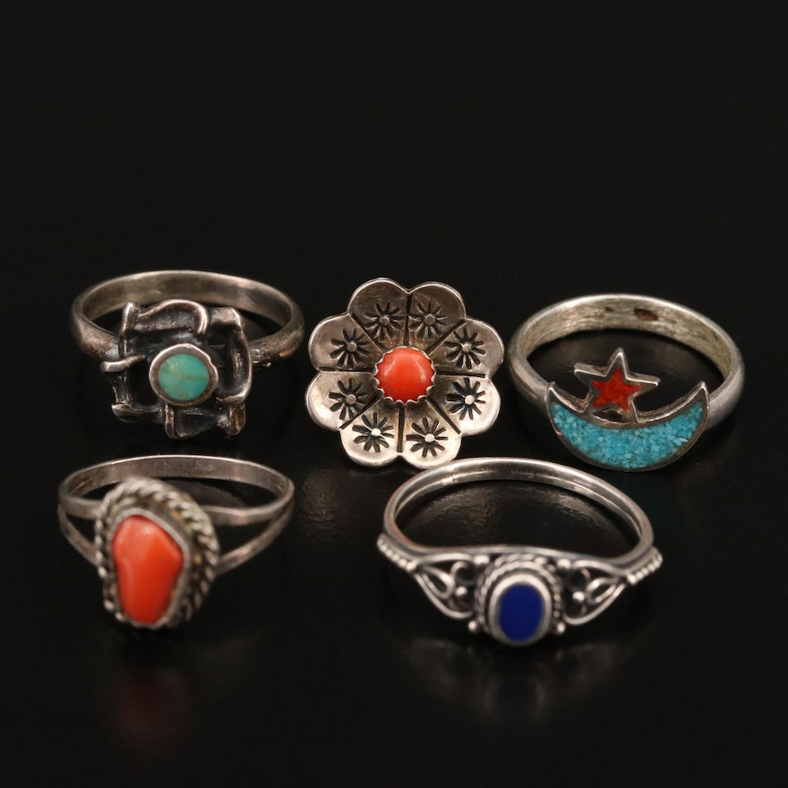 Western Sterling Coral and Turquoise Rings Featuring Crescent Moon and Star