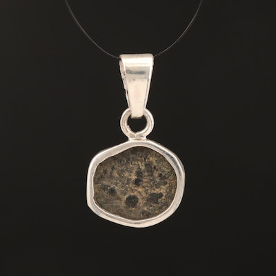 "950 Silver Pendant with Ancient Judaean ""Widow's Mite"" Prutah Coin, ca. 76 B.C."