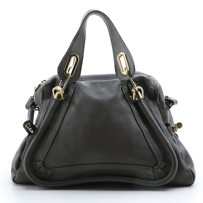 Chloé Paraty Dark Gray Brown Grained Leather Two-Way Bag