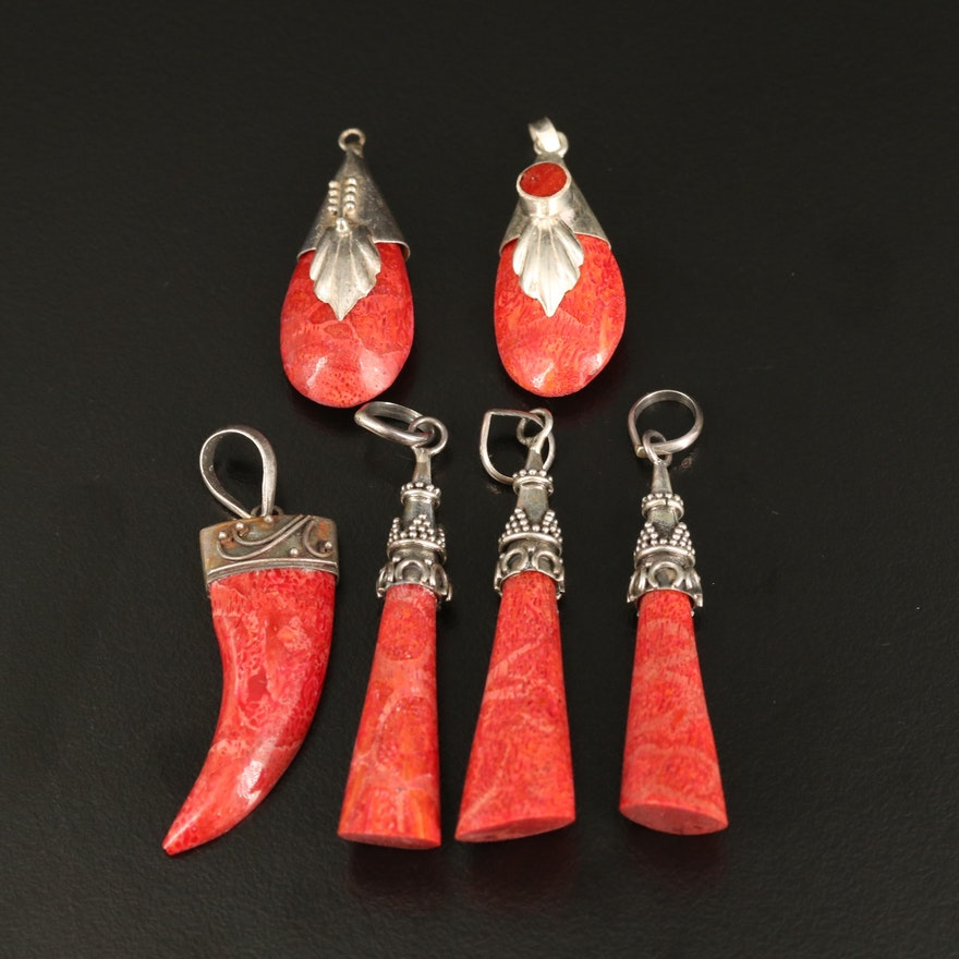 Selection of Sterling Coral Pendants