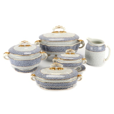 Royal Worcester Blue and White Chintz Serving Pieces and Pitcher, Late 19th  C.