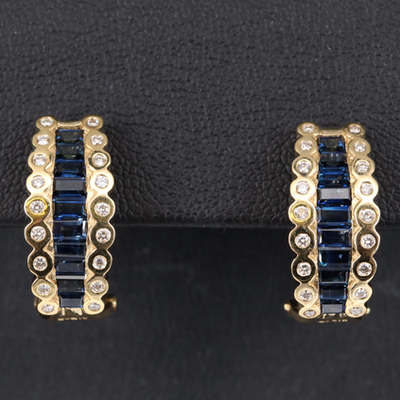 Le Vian 18K Sapphire and Diamond J-Hoop Earrings