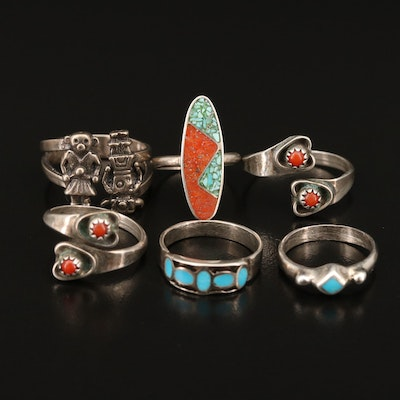 Western Style Sterling Silver Coral and Turquoise Rings Featuring Kachinas