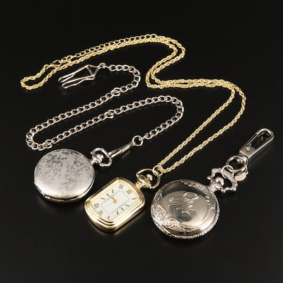 Quartz Fashion Pocket Watches with Chain Fobs and Clip