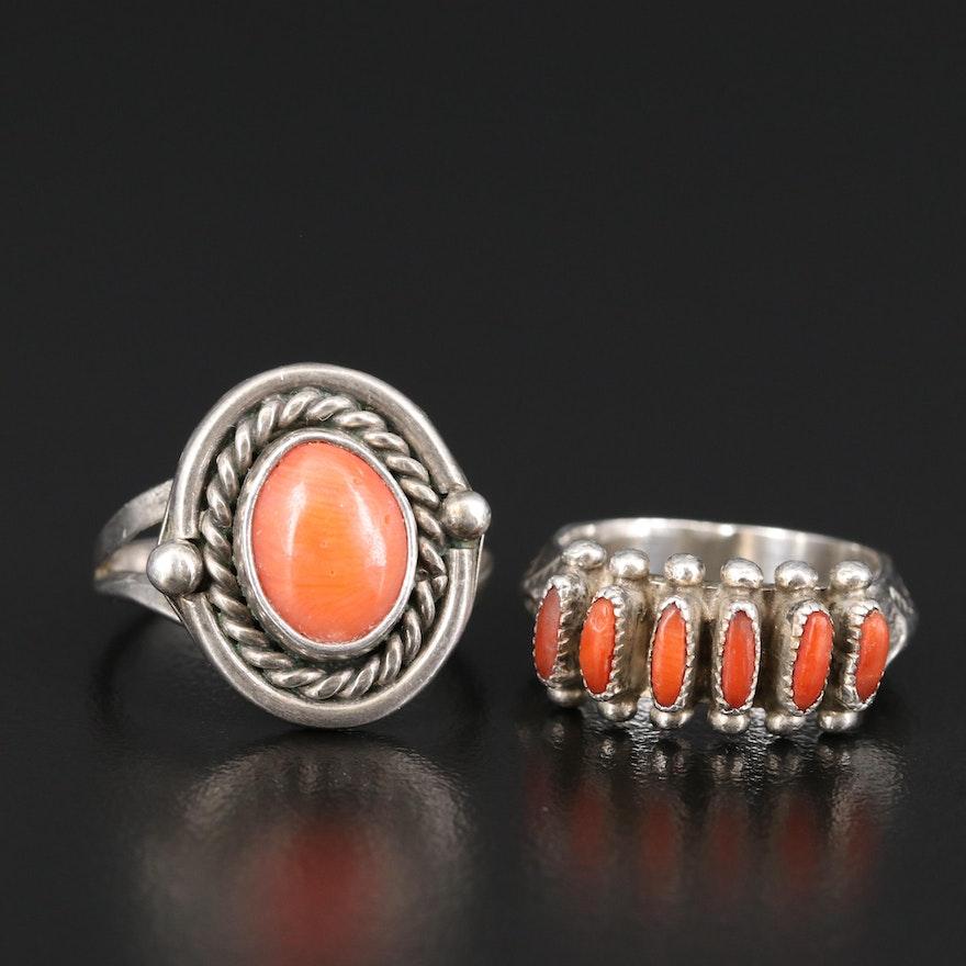 Vintage Southwestern Sterling Silver Coral Rings