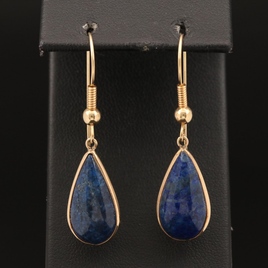 14K Lapis Lazuli Dangle Earrings
