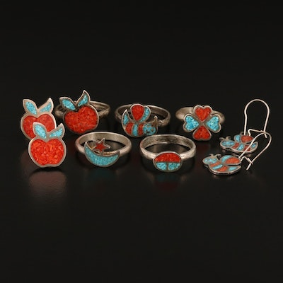 Sterling Silver Rings and Earrings Featuring Gemstone Inlay