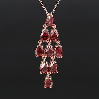 Sterling Silver Garnet Pendant Necklace