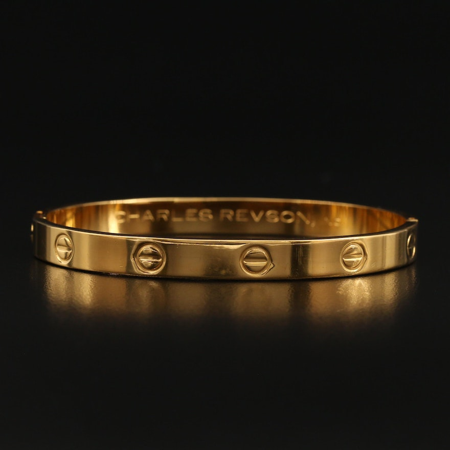 "1970s Aldo Cipullo for Charles Revson Inc. ""Love Collection"" Hinged Bangle"