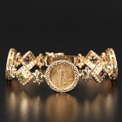 2000 $5 Gold Eagle Bullion Coins Bracelet with Fleur de lis Links