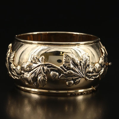 Vintage Whiting & Davis Co. Hinged Bangle with Leaf Garland Applique