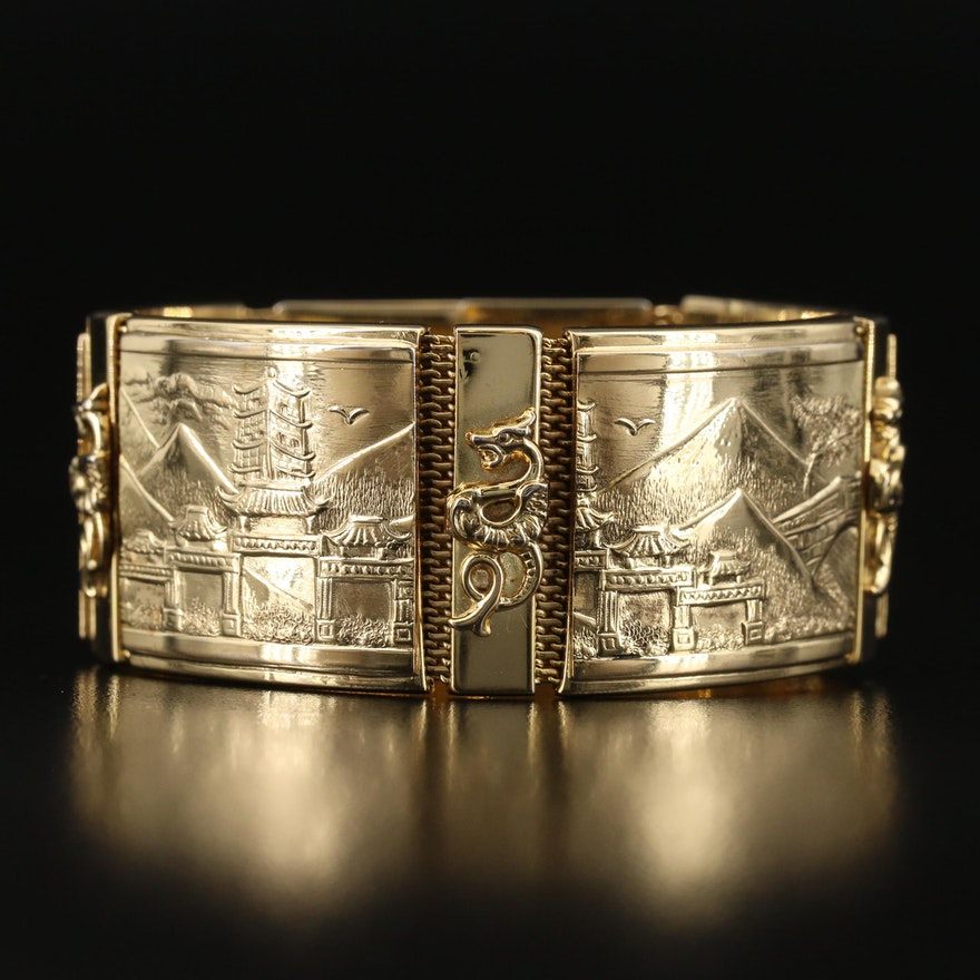 Vintage Whiting & Davis Co. Panel Bracelet with Japanese Landscapes and Ryū