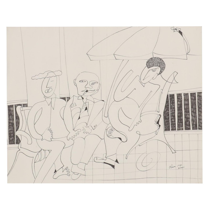 Eduardo Oliva Abstract Figural Ink Drawing, 1985