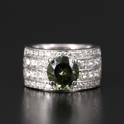 14K Moldavite and 1.03 CTW Diamond Ring
