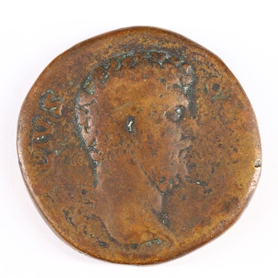 Ancient Roman Imperial AE Sestertius Coin of Aelius, ca. 137 A.D.