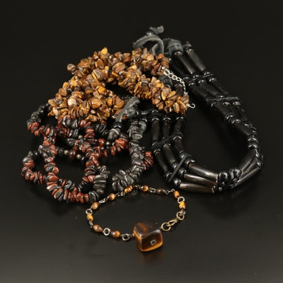 Wood and Beaded Necklaces with Tiger's Eye Bracelet