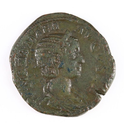 Ancient Roman Imperial AE Sestertius Coin of Julia Mamaea, ca. 228 A.D.