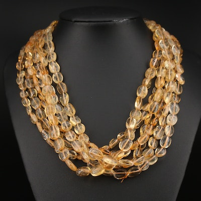 Kenneth Jay Lane Citrine Torasade Necklace