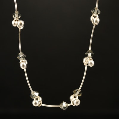 Sterling Curved Barbell Necklace