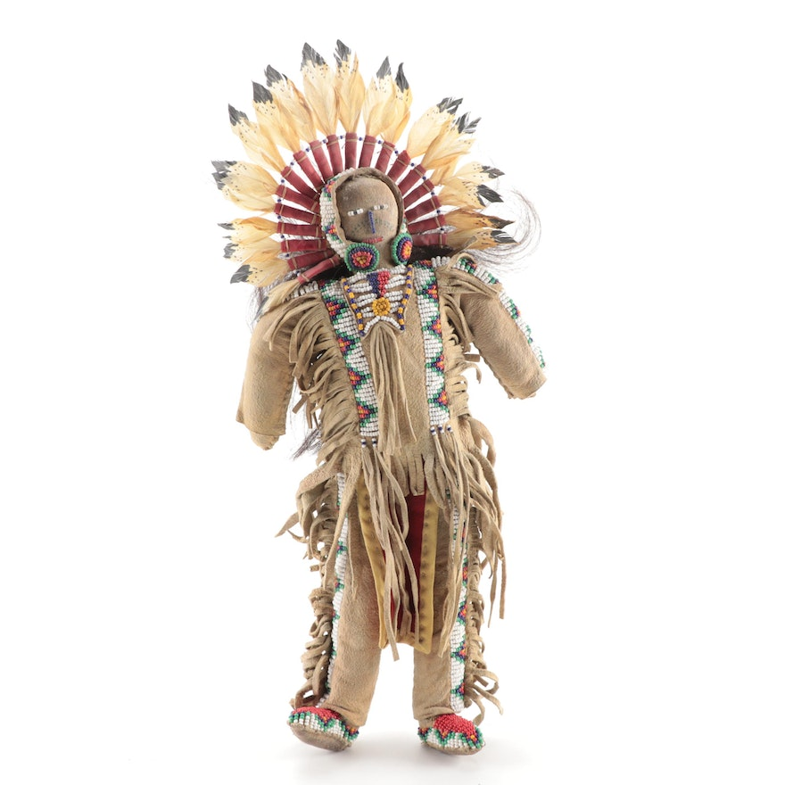 Lakota-Sioux Style Beaded Male Hide Doll with Feathered Headdress