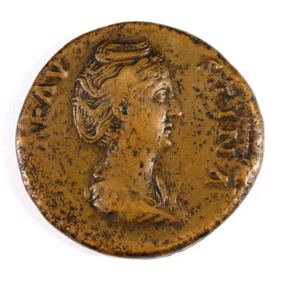 Ancient Roman Imperial AE Sestertius Coin of Faustina I, ca. 148 A.D.