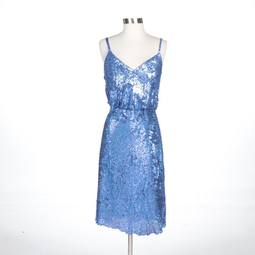 Alberto Makali Cornflower Blue Silk Sequined Sleeveless Dress with Wrap