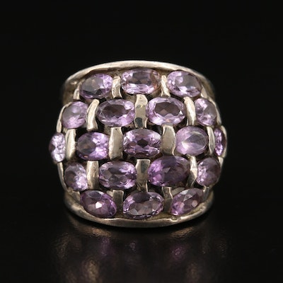Sterling Silver Amethyst Basket Weave Tapered Band