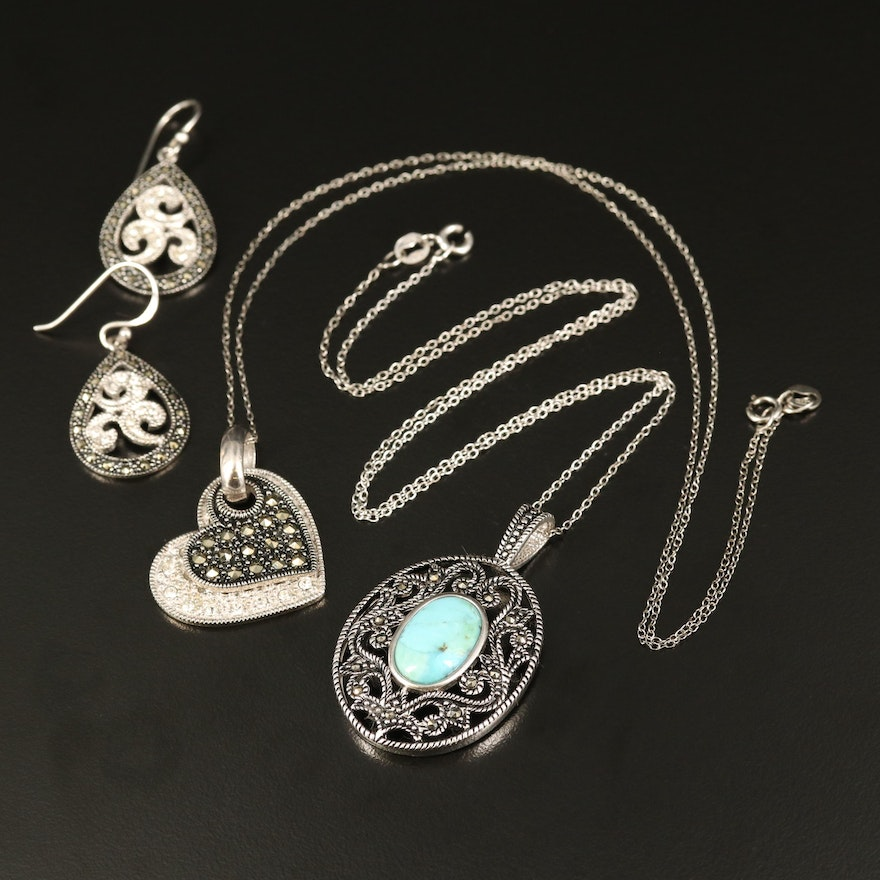 Sterling Faux Turquoise, Rhinestone and Marcasite Scrollwork Jewelry