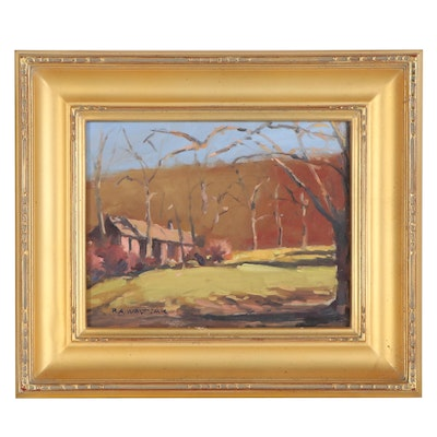 Robert Waltsak Autumnal Landscape Oil Painting with Cabin