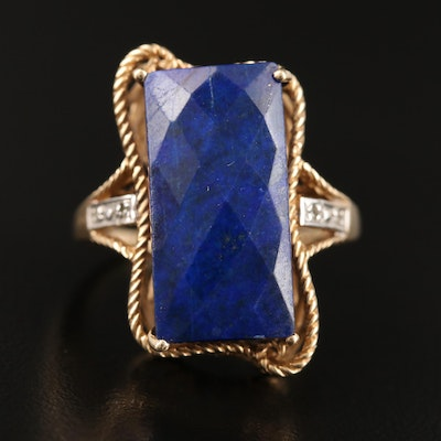 10K Lapis Lazuli and Diamond Ring