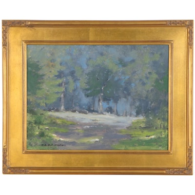 "Robert Waltsak Landscape Oil Painting ""Summer Day,"" 21st Century"