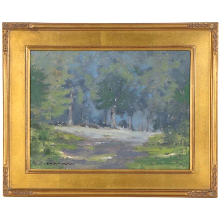 "Robert Waltsak Landscape Oil Painting ""Summer Day,"" 21st Century"