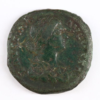 Ancient Roman Imperial AE Sestertius Coin of Faustina II, ca. 158 A.D.
