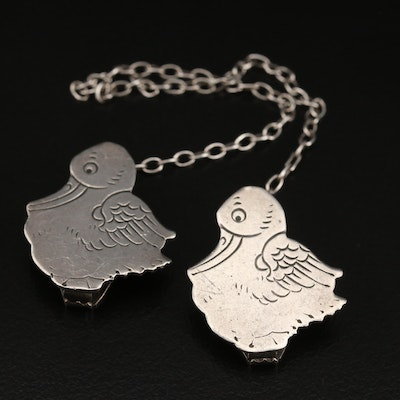 1940s Webster Co. Sterling Silver Duckling Bib Clips