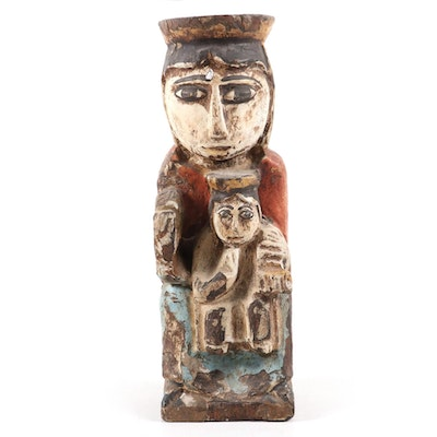 Santos Style Polychrome Figure of Madonna and Child