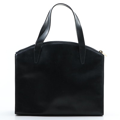 Gucci Smooth Black Leather Top Handle Bag