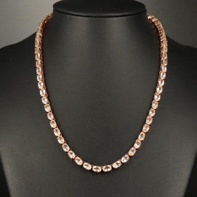 Sterling Silver Morganite Line Necklace