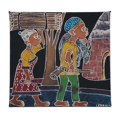 "Lekan O. Nigerian Batik Textile Art ""After Hunting,"" 2009"
