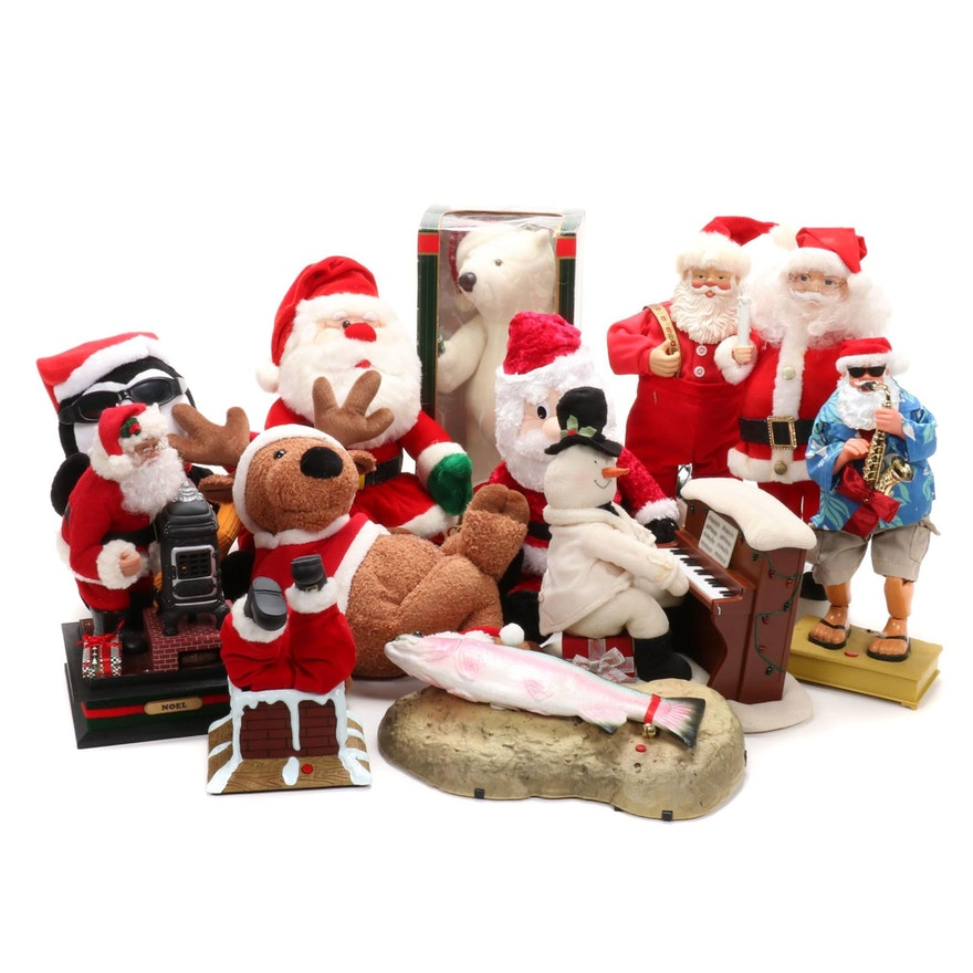 Christmas-Themed Animated Santa Toys and Decor Including Coca-Cola Polar Bear