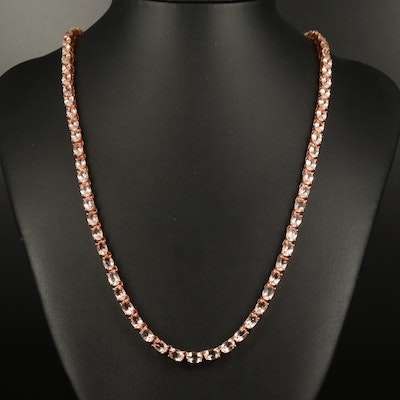 Sterling Morganite Line Necklace