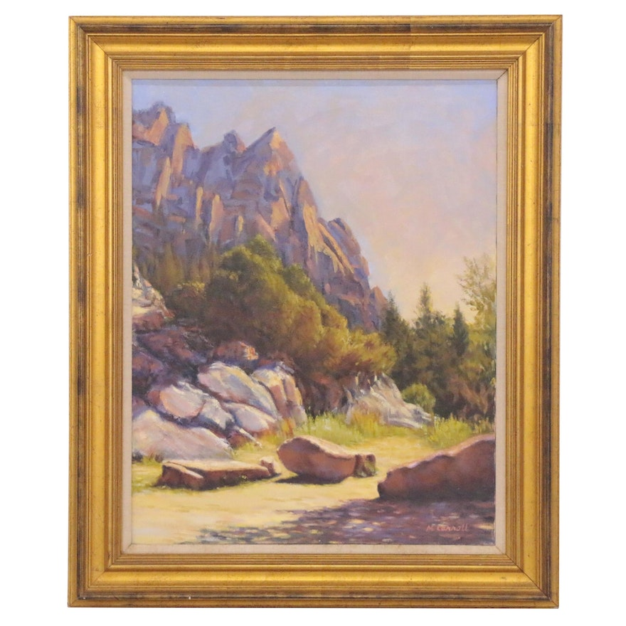 """Martha Carroll Oil Painting """"Morning Pouring In,"""" Late 20th Century"""
