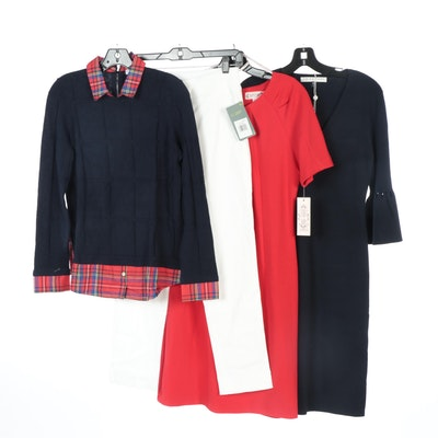 Trina Turk and Nanette Lepore Dresses with Lyssé Pants and Foxcroft Sweater