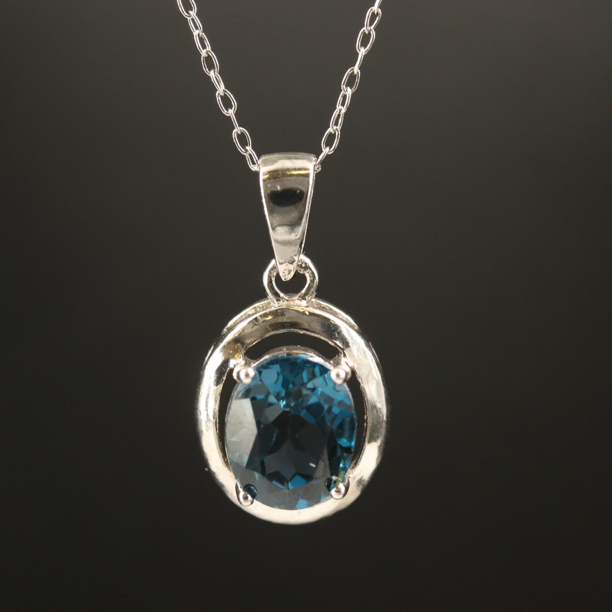 Sterling London Blue Topaz Pendant Necklace