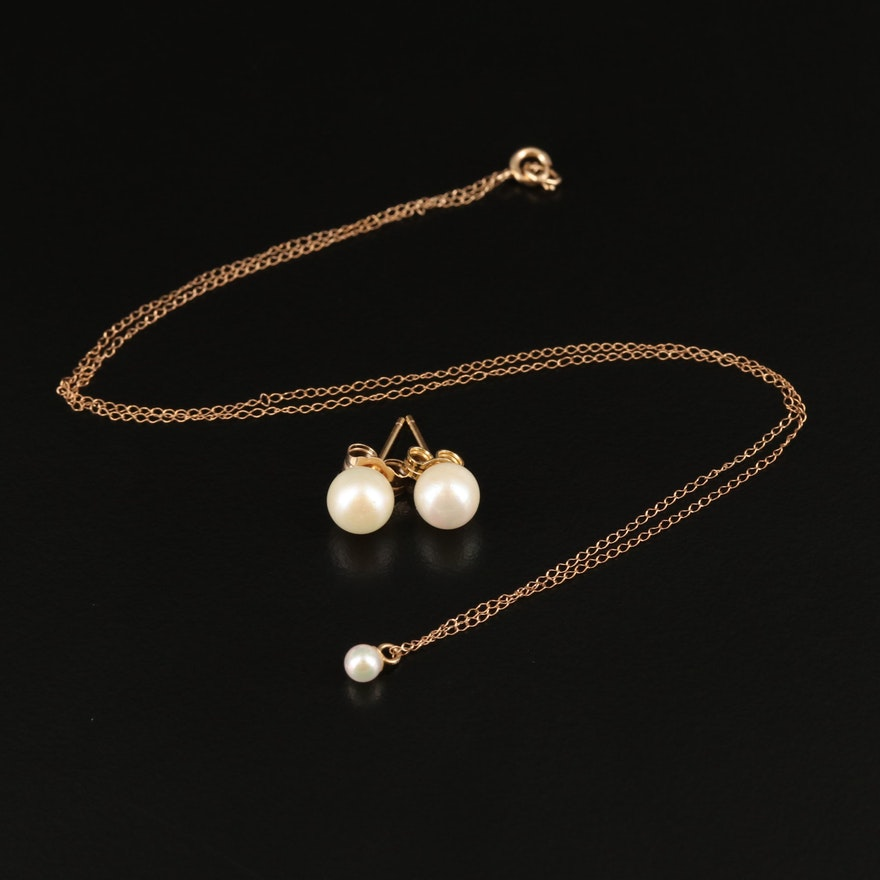 14K Pearl Pendant Necklace and Stud Earrings