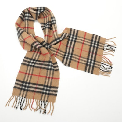 "Burberrys of London ""Nova Check"" Lambswool Fringed Scarf"