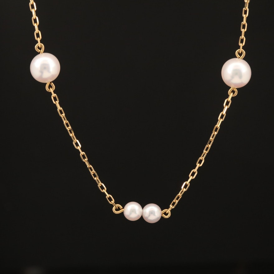 Mikimoto 18K Pearl Station Necklace