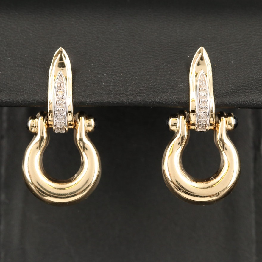 14K Sapphire and Diamond Door Knocker Earrings