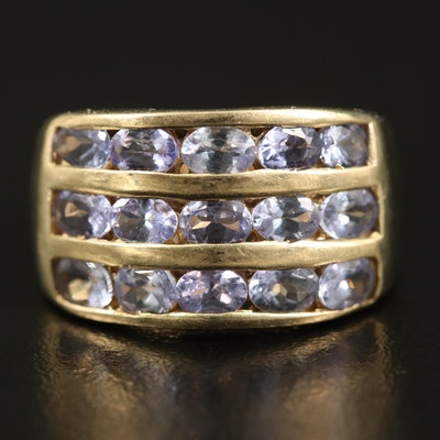 14K Tanzanite Multi-Row Ring